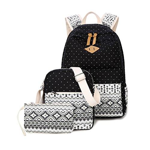 Zaino casual scuola set 3pcs daypacks / canvas backpack tela zaini ragazza / donna+ messenger bag + purse-tipo b nero