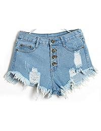 Damen Hosen Sommer LHWY Frauen Vintage Pants Hohe Taille Jeans Loch Kurze  Jeanshosen Skinny Denim Getragene 09c930e7b4