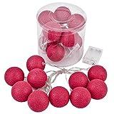 LED Kugel Cosy 10er Lichterkette Batterie 250cm Party Geburtstag Dekoration (Pink)