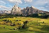 Fototapete ALPEN 368x254cm Berge Dolomiten Almwiesen Natur Langkofel grün saftig