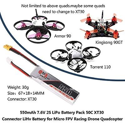 GNB 2pcs 550mAh 2S LiPo Battery HV 7.6V 50C XT30 Connector LiHv Battery for Micro FPV Racing Drone Quadcopter