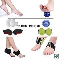 OrthoCare S. - Kit Fascitis plantar: Manga para fascitis plantar, bola de masaje, soporte para el arco del pie, masajeador de pie, almohadillas para el talón y arco, tobillera, alivia el dolor de pies y el dolor metatarsiano