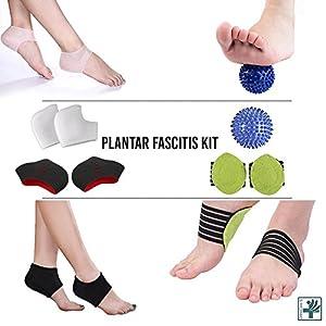 OrthoCare S – Plantar Fasciitis Kit: Sleeve für Plantarfasziitis, Massageball, Fußgewölbestütze, Fußmassagegerät, Fersen- und Fußgewölbepolster, Fußgelenkbandage, lindert Fußschmerzen und Metatarsalschmerzen