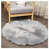 Rameng 11.8' Tapis de Canapé Coussin Fourrure Artificielle Souple Carpettes Rond Nappe de Table Décoration de Maison (Gris)
