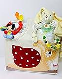 Elfenstall Windeltorte Pamperstorte 3 Sprouts Aufbewahrungstasche gefüllt mit Windeln der Marke Babylove, 1 süsse Mickey Maus Motorik-Rassel / Beißring, 1 weiches Hasen-Schnuffeltuch 2 Breilöffel sowie Schnullerkette mit Schnuller als tolles Geschenk / Geschenkset zur Geburt oder Taufe auf Wunsch mit Name des Babys (Aufbewahrungstasche Schnecke)