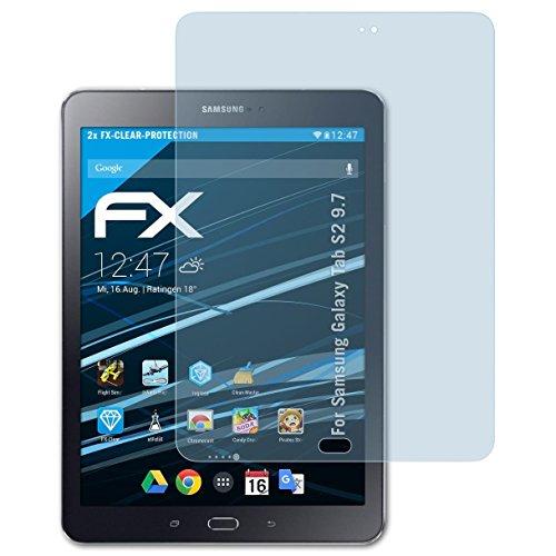 atFolix Displayschutzfolie für Samsung Galaxy Tab S2 9.7 Schutzfolie - 2 x FX-Clear kristallklare - Touchscreen S2 Samsung Galaxy