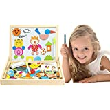 Lewo Wooden Jigsaw Puzzles Magnetic Toys Double Sided Easel Drawing Board Games for Kids