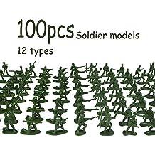 YOYOGO ❀Juguetes Electrónicos 100 Piezas Militares Playset Soldados De Juguete De Plástico Ejército ...