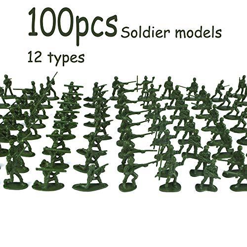 lustiges Spielzeug, ALIKEEY 100 Stück Militär Spielset Kunststoff Spielzeug Soldaten Armee Männer 3,8 cm Figuren