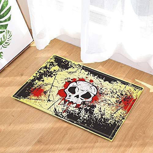fdswdfg221 Graffiti Decor Horrible Totenkopf mit rotem Blut auf rustikaler Wand für Halloween-Badteppiche Rutschfeste Fußmatte Bodeneingänge Indoor-Haustürmatte