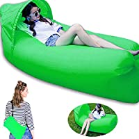 Opard Inflatable Lounger, Waterproof Air Bed Portable Air Lounger, Camping Bed Hangout Sofa for Outdoor/ Hiking/ Beach/ Adults/ Child(w/ Detachable Sunshade Hood & Carrying Bag)