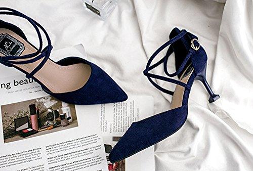 a64c4898674 ... Clásico Del Tobillo Bucle Zapatos De Aisun De Correa Azul La Mujer Boda  WazBTnIq ...