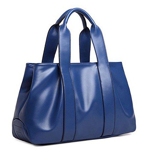 DELEY Frauen Europa Stil Groß Weiches Leder Totes Schulranzen Umhängetasche Handtasche Blau -