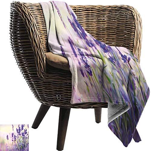 Fofun Manta tamaño Queen (80X130cm) Lavanda, día de Primavera de ensueño Con Flores frescas Flores silvestres delicadas aromáticas, Lavanda Verde lila Suave Mantas suaves y suaves