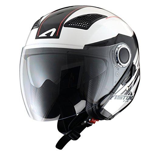 Astone Helmets fibra, Casco Jet, Espada, color Espada Blanco Negro, talla XL