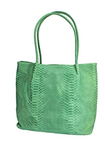 Echt Leder Wildleder Damentasche Kroko Optik Shopper Schultertasche (hellgrau) hellgrün