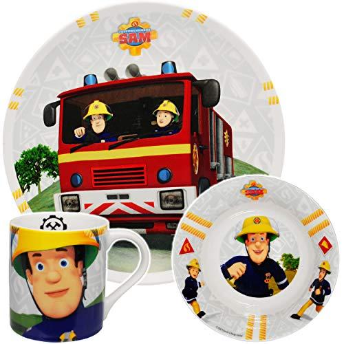 alles-meine.de GmbH 3 TLG. Geschirrset -  Feuerwehrmann Sam Jones  - Porzellan / Keramik - Trinktasse + Teller + Müslischale - Kindergeschirr - Frühstücksset für Kinder - Junge..