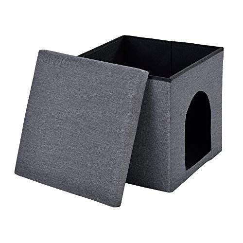[en.casa]®] Taburete con Espacio para Almacenamiento Plegable (38 x 38 x 38 cm) para Mascotas (Gris Oscuro) Asiento Estable - tapizado de Tela