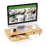 SONGMICS Bambus Monitorständer, Erhöhung, mit 2 Schubladen, ergonomischer Schreibtisch-Organizer für Computer, Laptop und Bürozubehör, 60 x 25 x 10,5 cm LLD701NL