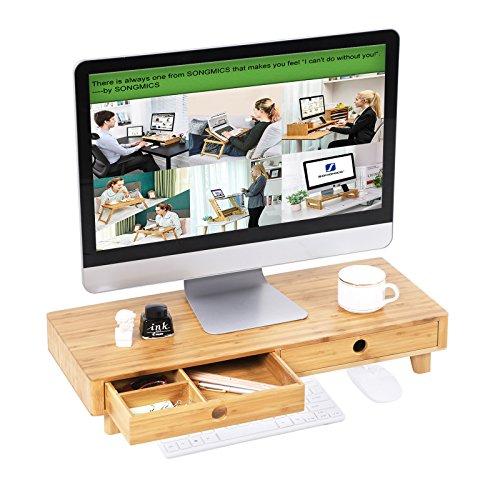 SONGMICS Elevador de Monitor, Soporte para Monitor ergonómico, Organizador de Escritorio con cajones para Ordenador, Pantalla, 60 x 25 x 10,5 cm, Carga de 20 kg, LLD701NL