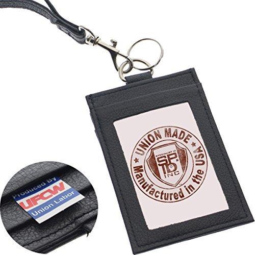 Specialist ID Heavy Duty Union Made Echt Leder ID Badge Holder Portemonnaie & Lanyard-in den USA hergestellt 1 Sold Individually schwarz - In Sehen, Usa Hergestellt Den Es
