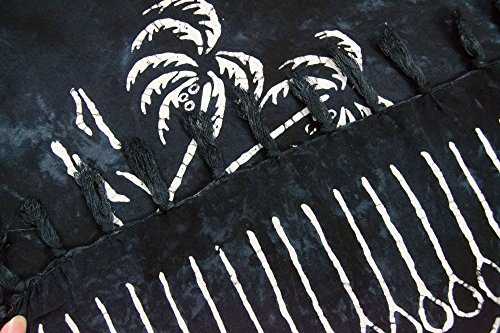 ManuMar Pareo/Telo mare, leggero, con frange, diverse misure, motivi e colori Schwarz Palme