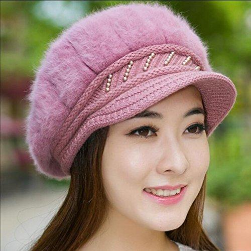 Frauen Beret Winter Warm Knit Hut Wolle Schnee Ski Caps mit (Hut Fedora Samt Lila)