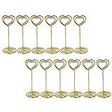 Bestomz 12pcs Table Numéro Porte-cartes Porte Photo support Place Carte Menu Paper clips Supports, Doré en forme de cœur