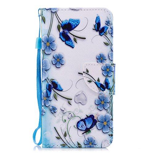 Felfy Kompatibel mit Wiko View Prime Hülle Lederhülle Schutzhülle Leder Flip Case Premium PU Leder Tasche Etui Magnetverschluss Handyhülle mit Ständerfunktion Brieftasche.Schmetterling
