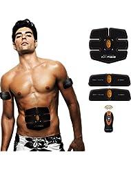Elektrostimulator Muskel-Training Mann/Frauen Bauch/Arme/Pobacke Massage-gürtel Wireless Fernbedienung--03(3-Gerät)-Orange