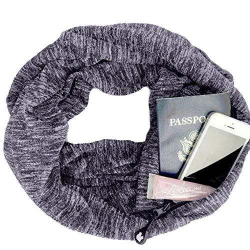 TBATM Pocket Scarf, Infinity Scarf Farbe Cotton Versteckte Zipper Aufbewahrungstasche für Smartphone Lippenstift Passport, leichte Reise Wrap Lätzchen,Gray -