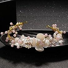 Novia tocado de pétalo de pétalo de color dorado hoja Conjunto de accesorios de vestido de boda tocado peine de pelo