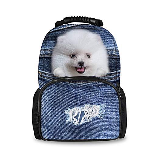 fhdc Zaino Denim Carino 3D Cat Dog Borse Da Scuola Grandi Zaino Da Donna Zaino Da Viaggio Casual Zaino Da ViaggioCc1673A