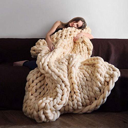 Intimate——Blanket Wolldecke Hand Gewebt Grob Gestrickt Plaid Schlafsofa Bettwäsche Handgemacht Weich Warm Bettwäsche Camping Geschäftsreise Und Reisen Wahl,Beige-150 * 200CM