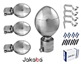 JAKABA Premium Quality Silver Finish Stainless Steel and Alloy Curtain Finials with Heavy Supports - PACK of 8 Pcs. (Finials : 4 Pcs + Supports : 4 Pcs) : Curtain Brackets Set / Holders for Window / Door - JKB100202