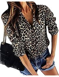 ShallGood Chemisier Femme Sweats Manches Longues Blouse Imprimée Léopard Tunique  Col V Automne Hiver Casual Imprimé De Bouton T… 1cbc49c0e4a7