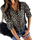 ShallGood Mujer Camisa Leopardo Impresión Casual Solapa Manga Larga Cuello V Talla Grande...