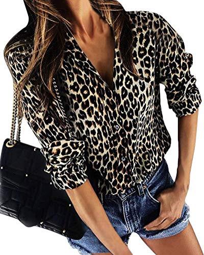 ShallGood Mujer Camisa Leopardo Impresión Casual Solapa Manga Larga Cuello V Talla Grande Moda Blusa T Shirt Tunic Camisetas y Tops tee con Botones Albaricoque ES 48