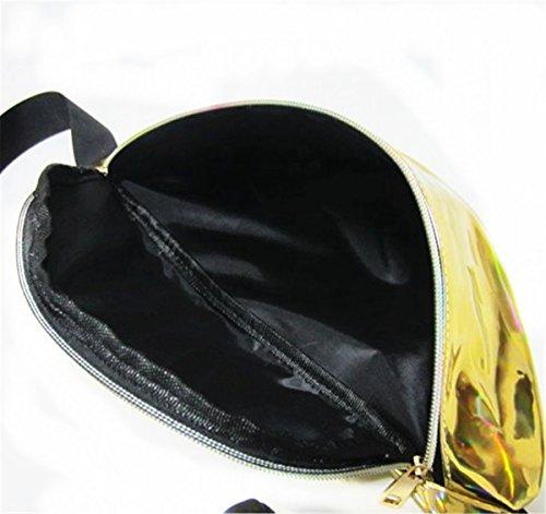 Borse a Mano per Donna PVC Trasparente Traslucido Borsa con Maniglia Marsupio 2Ways Springer Riflessione superficiale Impermeabile golden