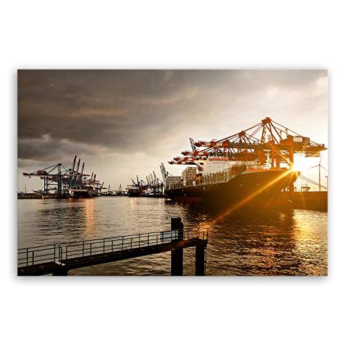 ge Bildet® hochwertiges Leinwandbild XXL - Hamburger Hafen - 120 x 80 cm einteilig 2047