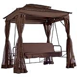 Miadomodo Hollywoodschaukel Gartenschaukel Gartenliege Sitz-/Liegefläche ca 150 x 97 cm inkl. Dach-, Bettfunktion und Insektenschutz im Pavillon-Design mit Farbwahl