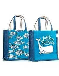 H&B Jute Multipurpose Waterproof Lunch Bag (Blue, 11x9x6-inch) - Set of 2