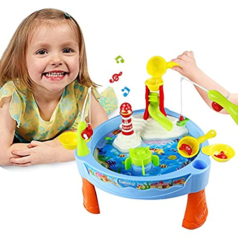 Water Play Table Toy Fishing Game Splash Waterpark with Accessories and Music Shine for Kids 3+, 30*29*17cm, Small
