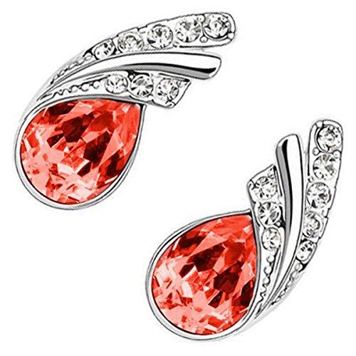 UPCO Donna Eleganti Orecchini a Perno in Oro Bianco Placcato e Cristallo di Rubino Rosso a forma di Lacrima, circondato da Luminosi elementi incastonati, 18 x 18 mm
