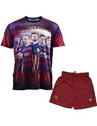 Ensemble Maillot + short Barça - Messi Suarez Neymar Piqué Iniesta - Collection officielle FC BARCELONE - Taille enfant garçon
