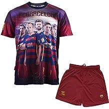 F.C. Barcelona - Conjunto oficial de camiseta y pantalones cortos para niño, diseño de Iniesta, Messi, Suárez, Neymar y Piqué, azul, 12 años