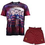 F.C. Barcelona Conjunto oficial de camiseta y pantalones cortos para niño, diseño de Iniesta, Messi, Suárez, Neymar y Piqué, azul, 6 años