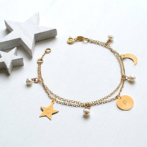 Pulsera celestial personalizada de perlas de oro y agua dulce