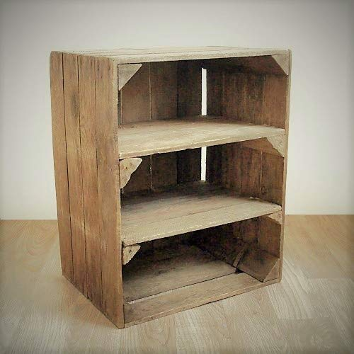 Wooden Apple Crate; handmade in Kent, a 2-shelf unit for storage/display