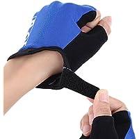 Wenquan,Transpirable Antideslizante Unisex Resistente a los Golpes Deportes al Aire Libre Ciclismo Medio Dedo(Color:Azul,Size:L)